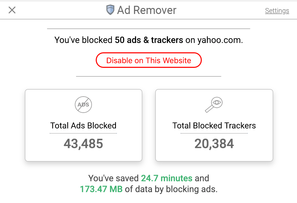 screenshot preview of ad blocker extension user interface
